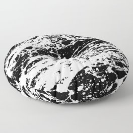 Black and White Paint Splatter Floor Pillow