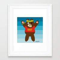 crossfit Framed Art Prints featuring Crossfit Bear  by Gabriel J Galvan