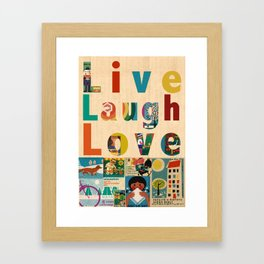 Live Laugh Love - vintage 70s safety matches collage poster print on wooden background Framed Art Print