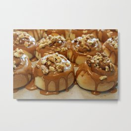 Homemade baking. Buns with caramel and walnuts. Metal Print