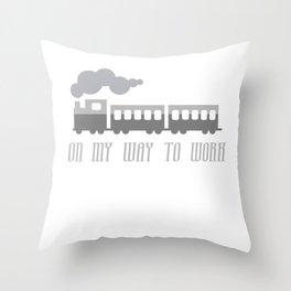 On My Way To Work - Commuter Retro Steam Train Throw Pillow