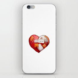 Heart with patches. Valentines day illustration. iPhone Skin