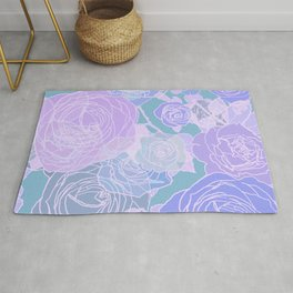 Preppy Purple and Seafoam Green Abstract Contemporary Romantic Roses Rug