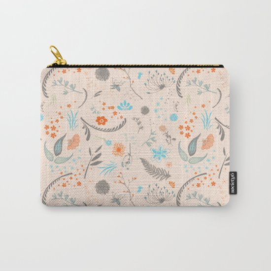 Floral Pattern with Flowers and Leaves Carry-All Pouch
