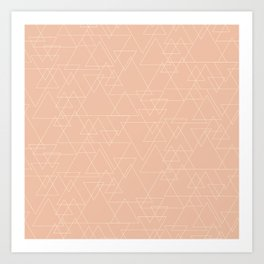 Vector Triangle Pattern in Peach and Gold Art Print