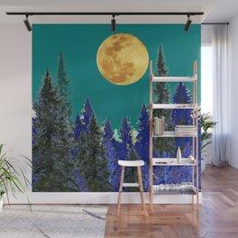 BLUE FOREST TEAL SKY MOON LANDSCAPE ART Wall Mural
