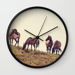 Wild Mustangs Wall Clock