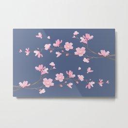 Cherry Blossom - Denim Blue Metal Print