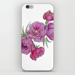 Peonies in Pink and Ink iPhone Skin