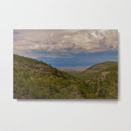 View from the Sandia Man Cave looking towards Placitas, outside of Albuquerque, New Mexico showing the green forest in the Sandia Mountains Metal Print
