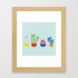 Catcus - Blue Theme Framed Art Print