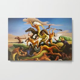 Classical Masterpiece 'Little Big Horn - Custer's Last Stand' by Thomas Hart Benton Metal Print