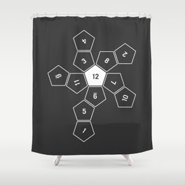 Grey Unrolled D12 Shower Curtain
