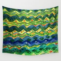 green pattern Wall Tapestries featuring Green pattern by Nato Gomes