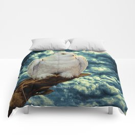 Snowy Owl against Aqua Sky Country Decor A147 Comforters
