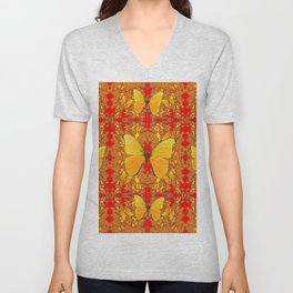 GOLDEN YELLOW BUTTERFLIES RED PATTERN ABSTRACT Unisex V-Neck