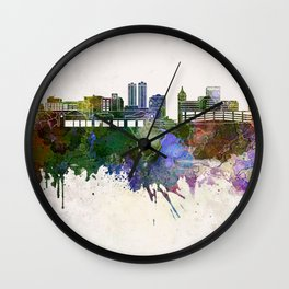 Peoria skyline in watercolor background Wall Clock