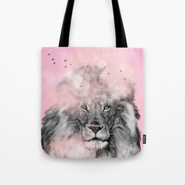 Lion in Pink Tote Bag