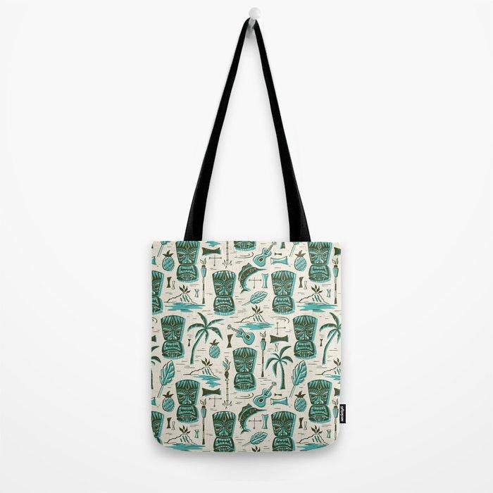 Tropical Tiki - Cream & Aqua Tote Bag