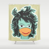 cheese Shower Curtains featuring say cheese! by freshinkstain