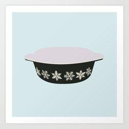 Black Snowflake Pyrex Art Print