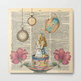 It's Always Tea Time - Alice In Wonderland Metal Print