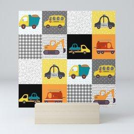 Patchwork Cars Trucks Kids Quilt Pattern Mini Art Print
