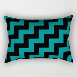Black and Teal Green Steps RTL Rectangular Pillow