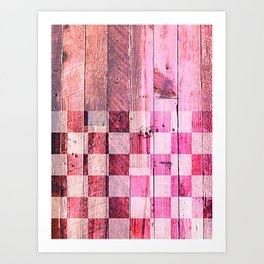 Vintage pink checkered planks Art Print