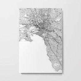 Melbourne White Map Metal Print