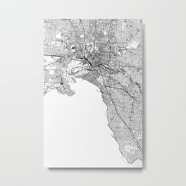 Melbourne White Map Metal Print