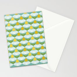 Greeting daisy mint -  Retro Lifestyle pattern Stationery Cards