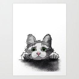 The Curious Cat 01 Art Print
