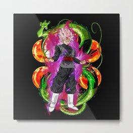 Black Goku Super Saiyan Rose Metal Print