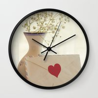 letter Wall Clocks featuring Love Letter by Colleen Farrell