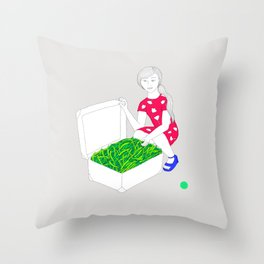 A suitcase filled with stringbeans Throw Pillow