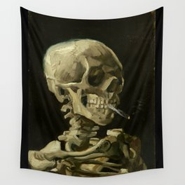 Vincent van Gogh - Skull of a Skeleton with Burning Cigarette Wall Tapestry