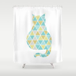 Single Cat Triangulation Shower Curtain
