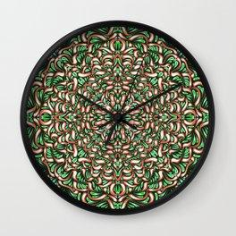 Christmas Mandala Pattern - Floral Abstract Trippy Art - Geometric Symmetrical Rosetta Flower Wall Clock