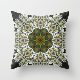 Lacy Serviceberry mandala 0033 k11 Throw Pillow