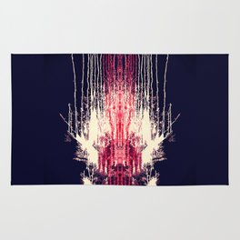 Pink and Navy Blue Abstract Watercolor Pain Drips Rug