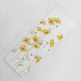 Yellow Cosmos Flowers Yoga Mat