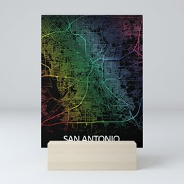 San Antonio TX USA Rainbow City Map Mini Art Print