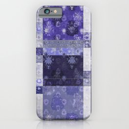 Lotus flower blue stitched patchwork - woodblock print style pattern iPhone Case