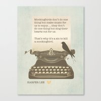 to kill a mockingbird Canvas Prints featuring To Kill a Mockingbird by The Print Design Studio