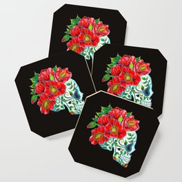 Sugar Skull with Red Poppies Coaster