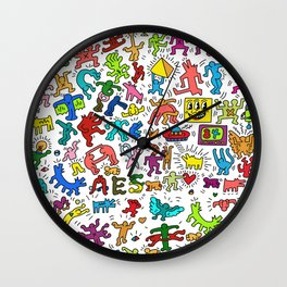Doodles Homage to Keith Haring Color Wall Clock