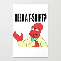 zoidberg Canvas Prints featuring Why not Zoidberg? by Albertine et Gedeon