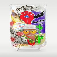 fear and loathing Shower Curtains featuring GONZO Fear and Loathing Print by Just Bailey Designs .com