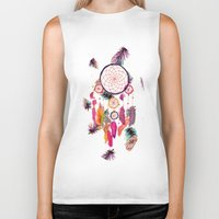 preppy Biker Tanks featuring Hipster Watercolor Dreamcatcher Feathers Pattern  by Girly Trend